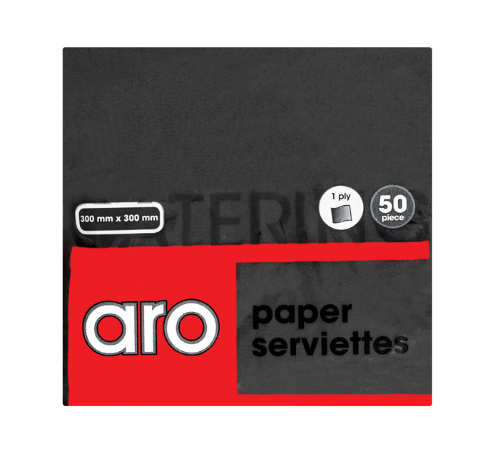 ARO 1 Ply Serviettes Black (1 x 50's)