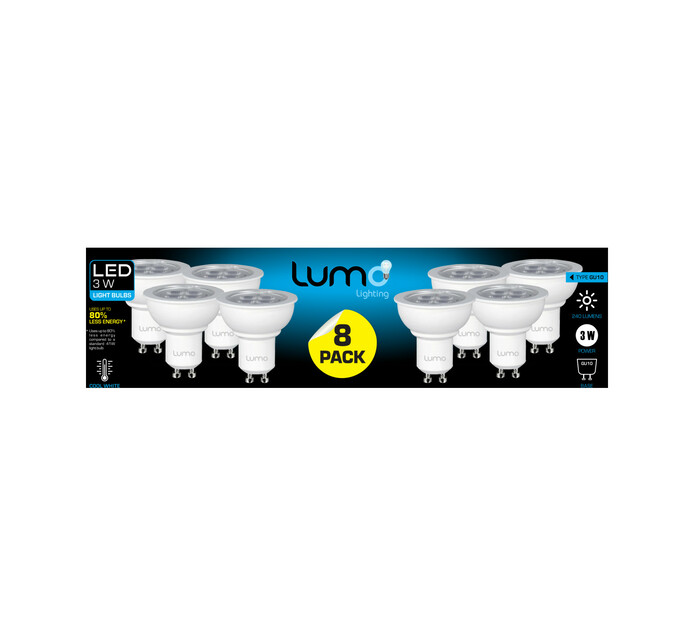LUMO 8 pack 3W Led GU10 CW ES