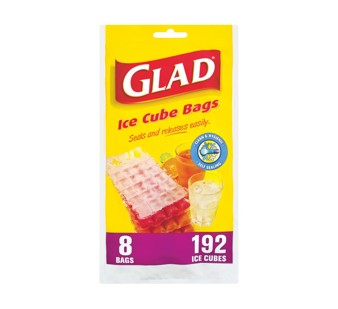 GLAD ICE CUBE BAGS 8'S
