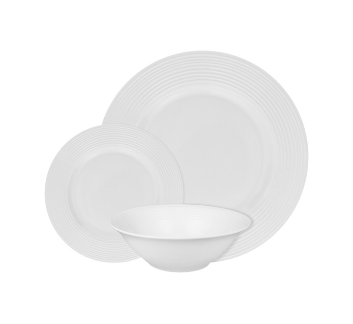BASIC WHITE 12 Piece Basic White Ribbed Dinner Set