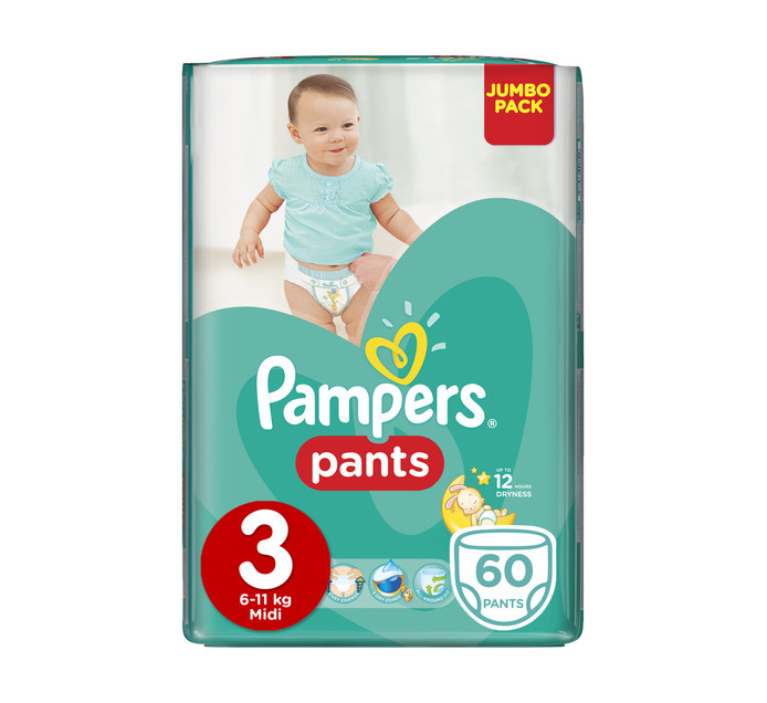 PAMPERS Active Baby Disposable Pants Size 3 Midi (1 x 60's)