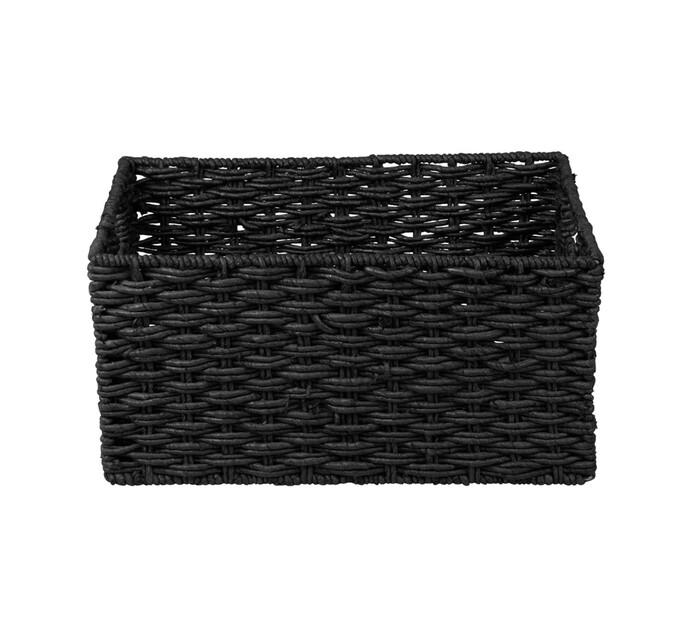 CORN WEAVE BASKET BLACK LRG