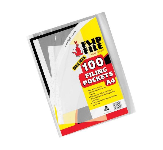 FLIP FILE A4 Filing Pockets 100's