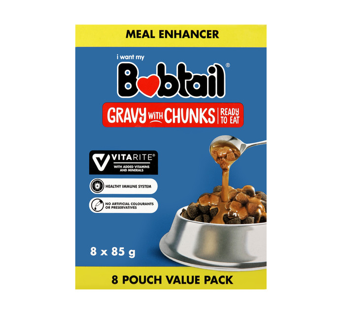 BOBTAIL GRAVY WITH CHUNKS M/PACK8 X 85G