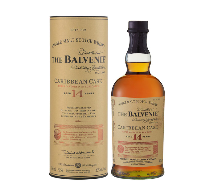 BALVENIE 14 YO Caribbean Cask Speyside Single Malt Whisky In Gift Tube (1 x 750ml)