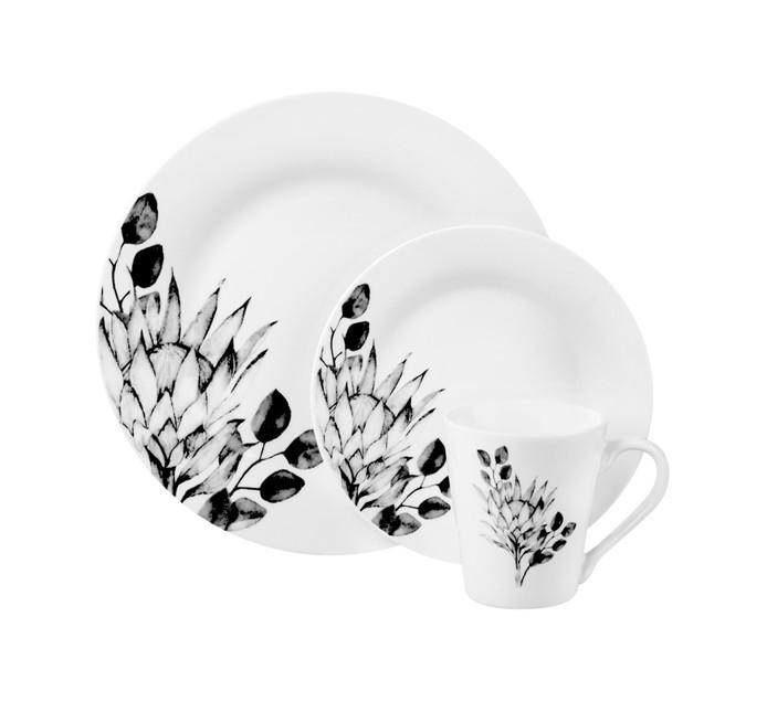 BASIC WHITE 12 Piece Protea Tree Dinner Set