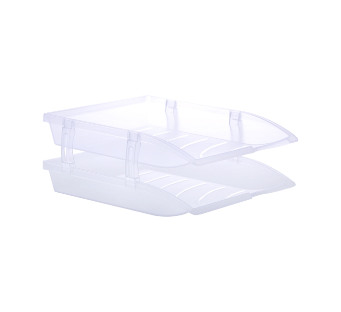 BANTEX A4 Letter Tray Clear 2-Pack