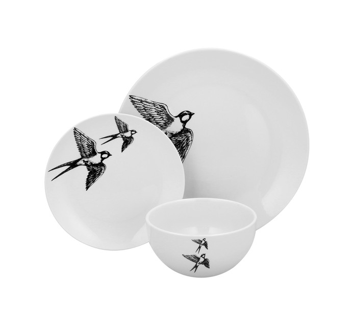 12 Piece Sketched Swallow Dinner Set