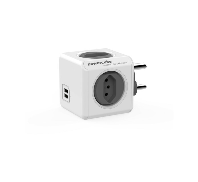 POWERCUBE 4 WAY + 2 x USB MUTLIPLUG GREY