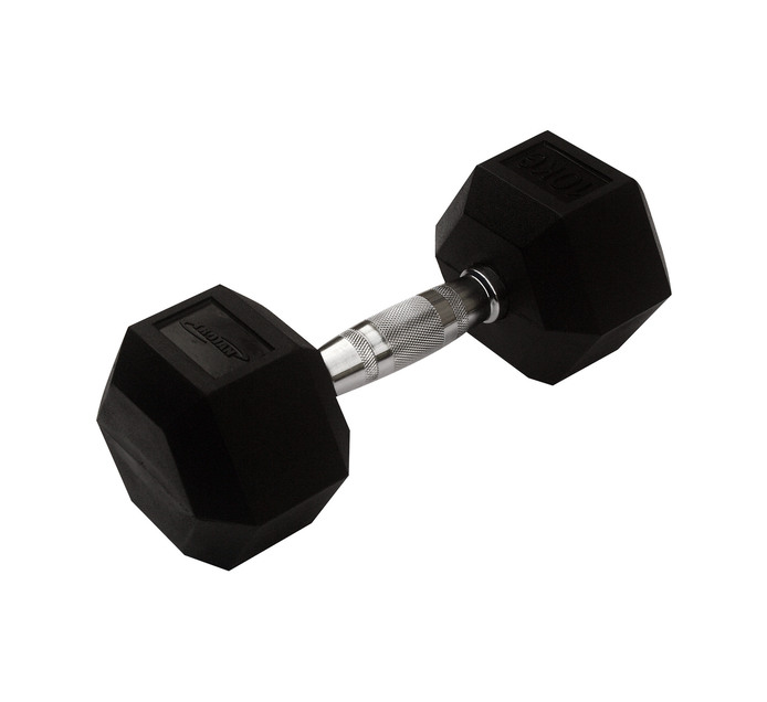 TROJAN 10kg Rubber Coated Hex Dumbbell
