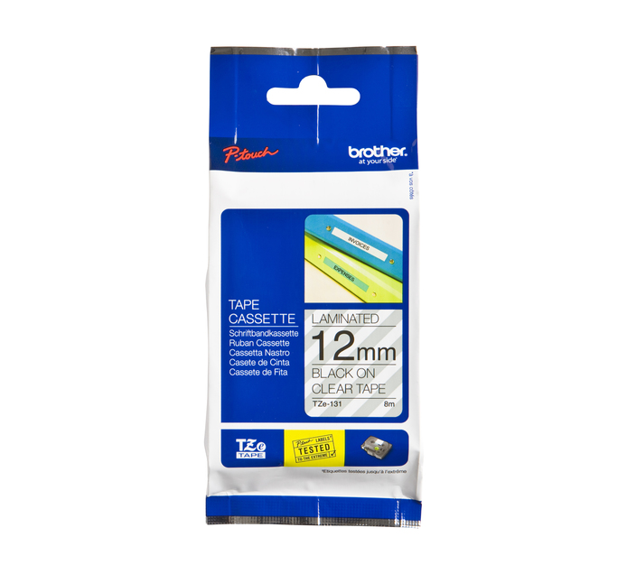 BROTHER 12mm x 8m TZE-131 Black on Clear 12mm Laminated Tape