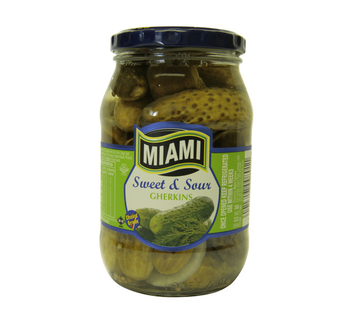 MIAMI Sweet & Sour Gherkins (1 x 380g)