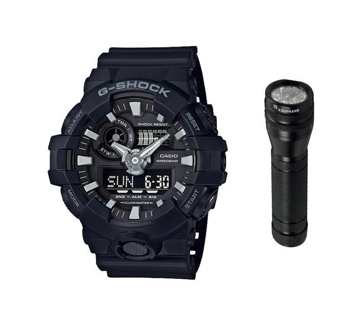 Casio GA-700-1BDR Men`s G-Shock Ana-Digital Watch Bundle