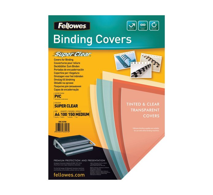FELLOWES A4 100 Pack PVC 150 Micron Clear Cover