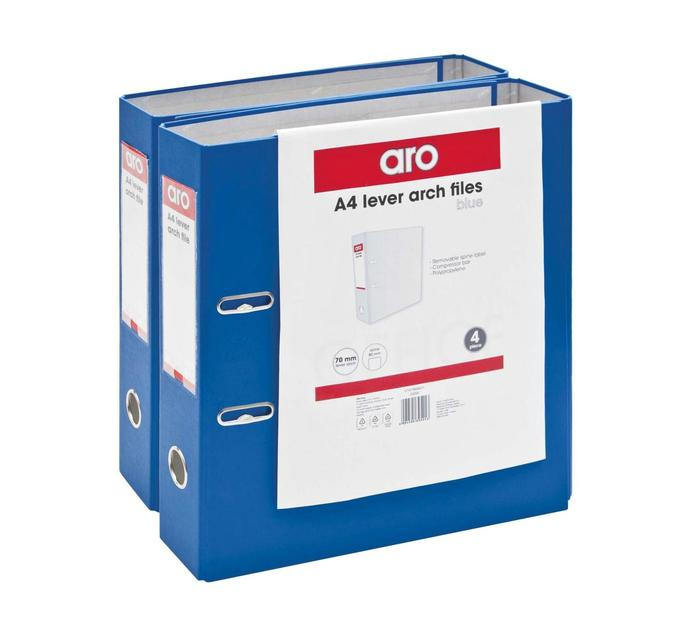 ARO A4 Lever Arch Files Blue 4 Pack