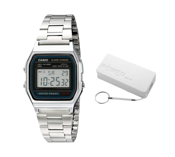 Casio Retro A158WA-1Q Digital Watch Bundle