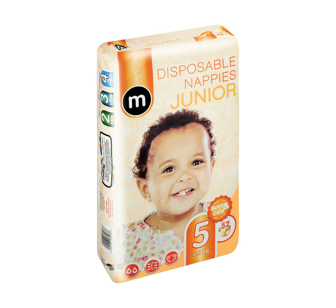 M Disposable Baby Nappy Size 5 Junior (1 x 52's)
