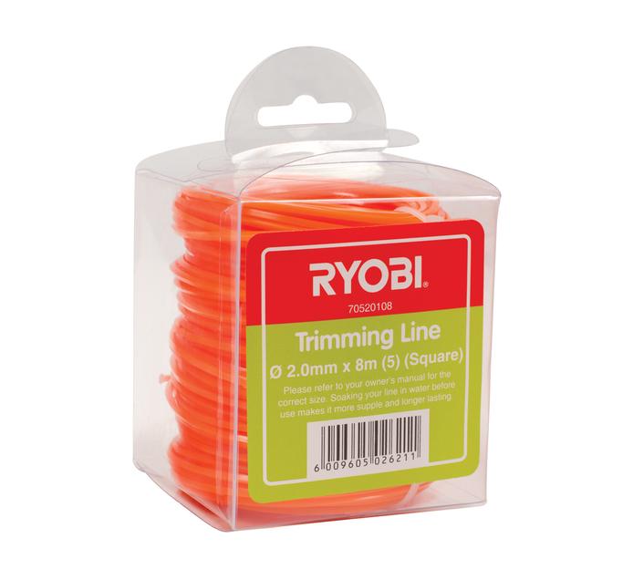 RYOBI 2.0mm x 8m Trimmer Line Square 5 Pack