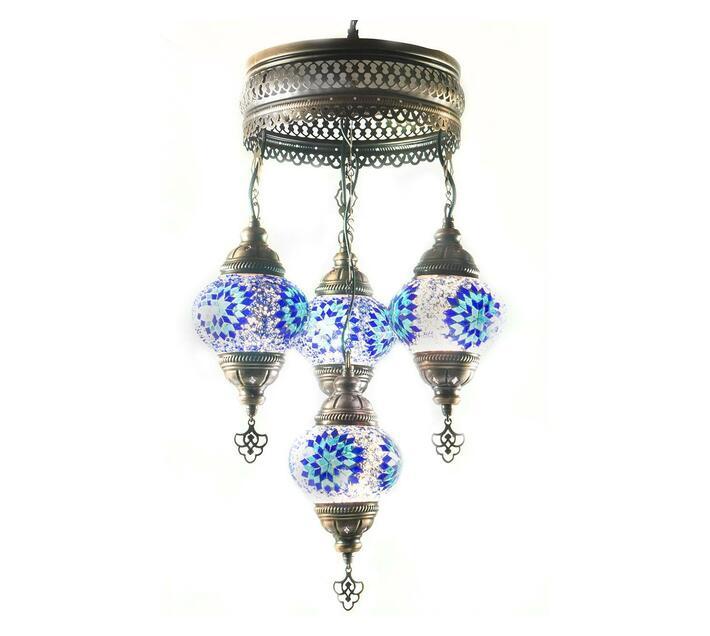 Turkish Handmade Mosaic Glass Chandelier: 4 in 1