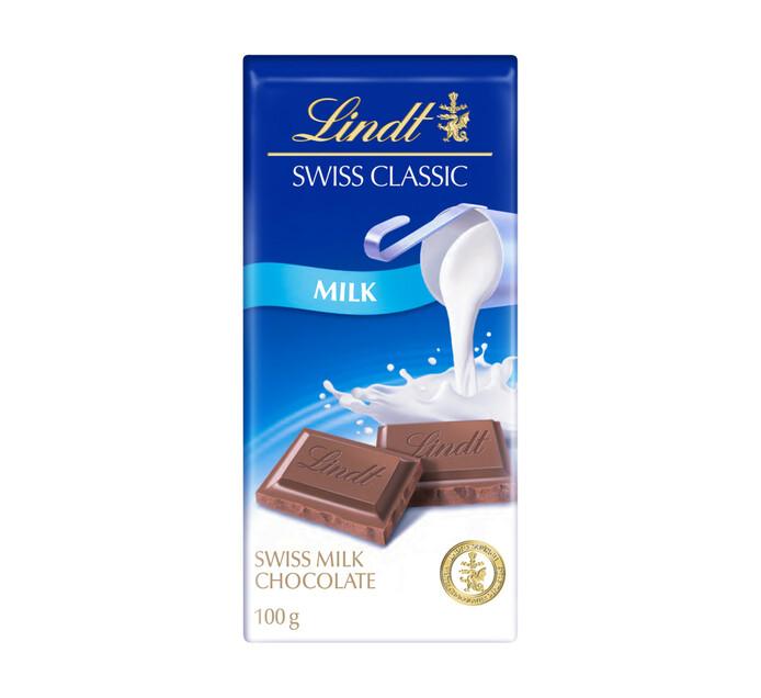 LINDT Swiss Classic Chocolate Slabs Milk (1 x 100g)