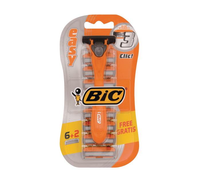 BIC Easy Triple Blade Pack 1 Razor plus 8 catridges (1's)