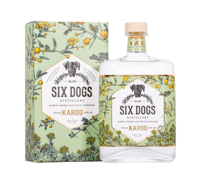 SIX DOGS Handcrafted Karoo Gin (1 x 750ml)
