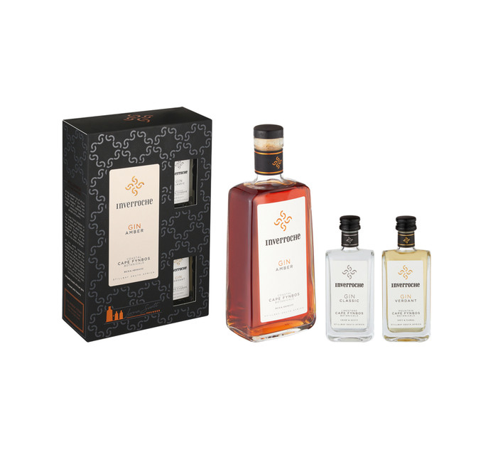 INVERROCHE Amber Gin with Mini Classic and Verdant Gins (1 x 750ML)
