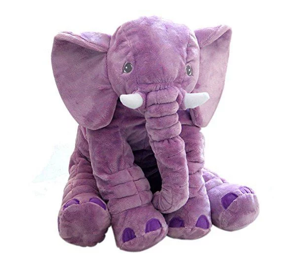 Plush Elephant Pillow - Purple