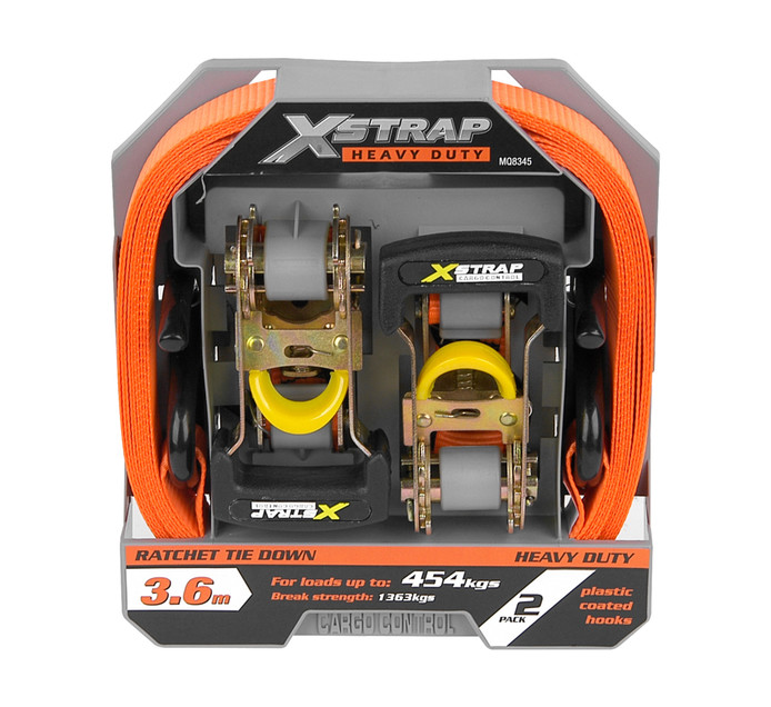 X-STRAP 2 Piece Heavy Duty Ratchet Tie Down