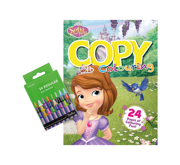 DISNEY Sofia Colouring Book & 24 Wax Crayons