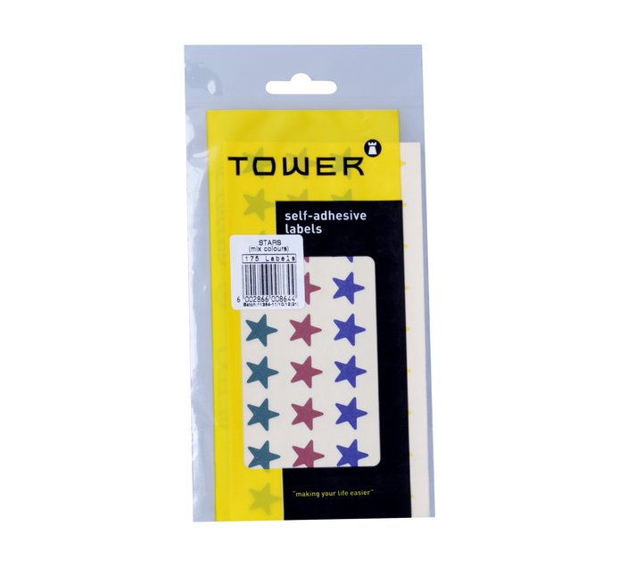 """TOWER Self Adhesive Stickers """"Stars"""" Assorted 10 Sheets"""