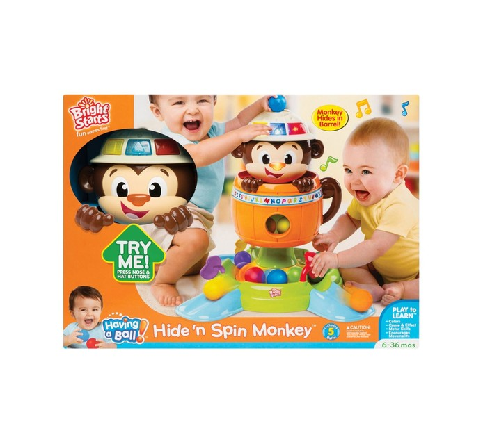 BRIGHT STARTS Having a Ball Hide n Spin Monkey