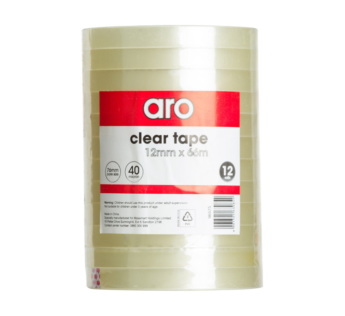 ARO 12mm x 66m Clear Tape Clear