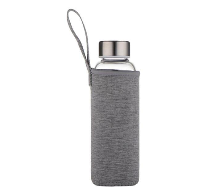 550ml Borosilicate Glass Waterbottle with Anti-Slip Sleeve - Grey