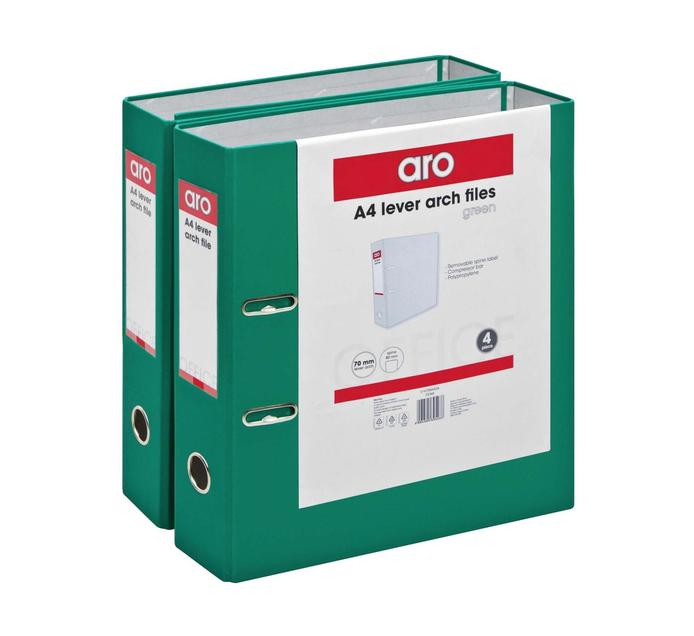 ARO A4 Lever Arch File Green 4 Pack