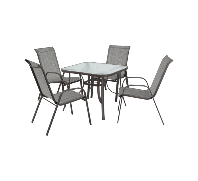 TERRACE LEISURE Table size 80x80cm Manor 5 Piece Textilene Patio Set