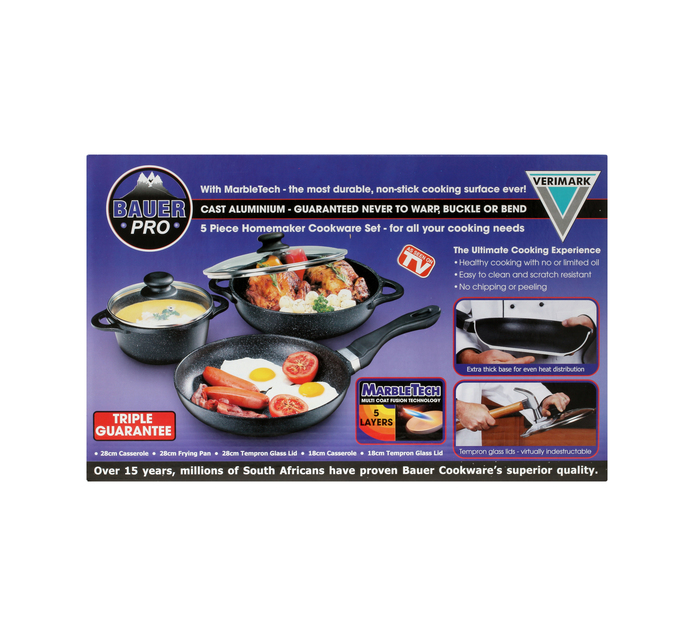 BAUER 5 Piece Marbletech Homemakers Cookware Set