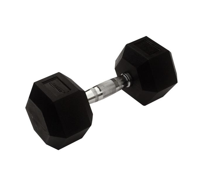 TROJAN 12.5kg Rubber Coated Hex Dumbbell