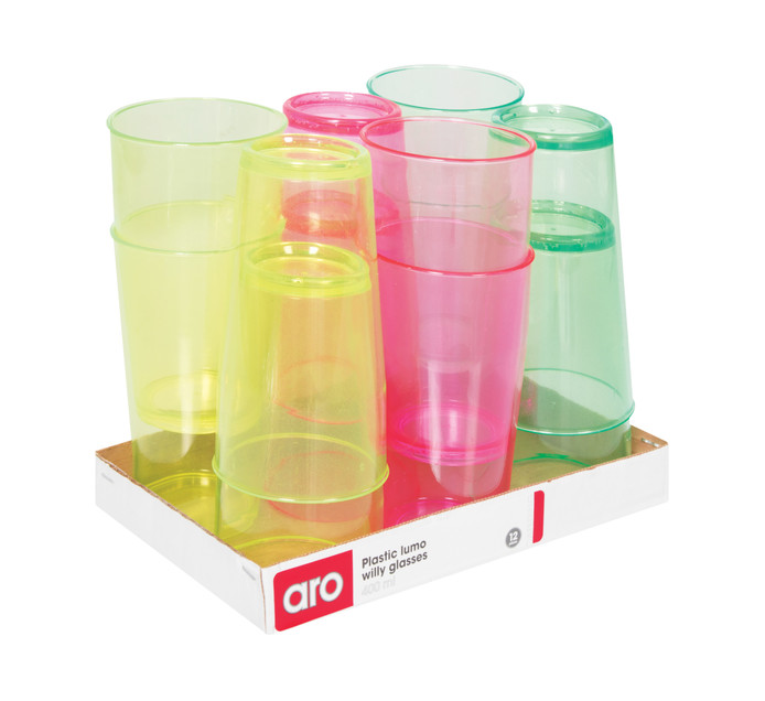 ARO 12 Pack Plastic Lumo Willy Glass