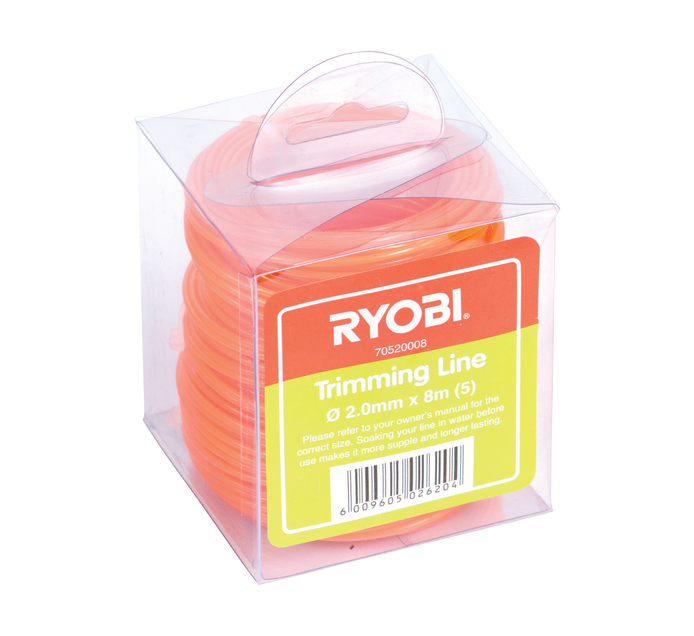 RYOBI 2.0 mm x 8 m Trimmer Line Square 5 Pack