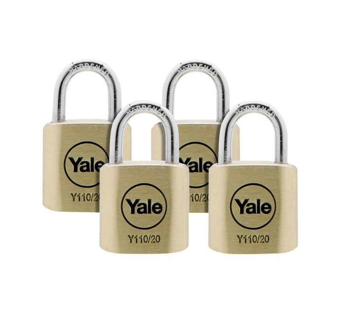 YALE 20mm Brass Padlock Quad 20mm