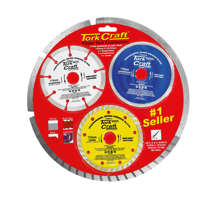 TORK CRAFT 3PC Tork Craft 115mm Diamond Cutting Blades