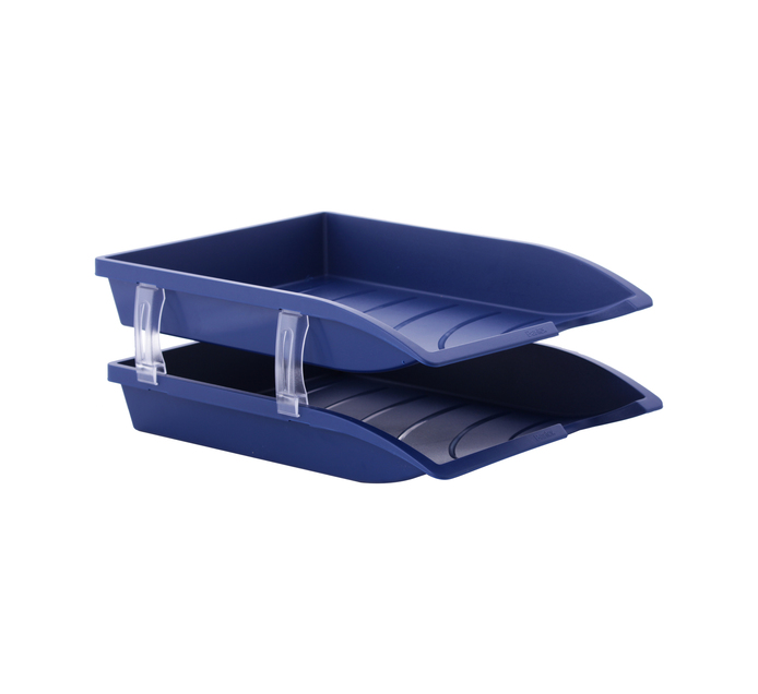 BANTEX A4 Letter Tray Blue 2-Pack
