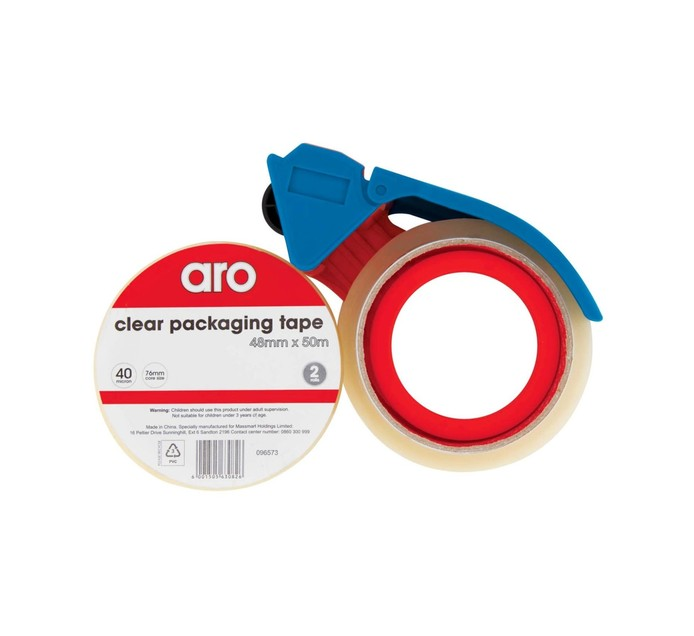 ARO 48mm x 50m Clear Packaging Tape +  Dispenser 2 Pack Clear