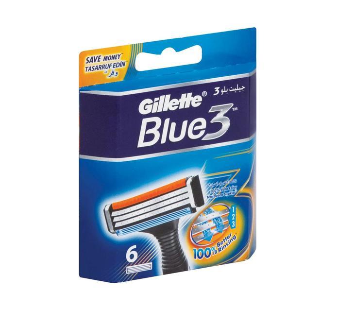 GILLETTE BLUE 3 RAZOR BLADES 6'S