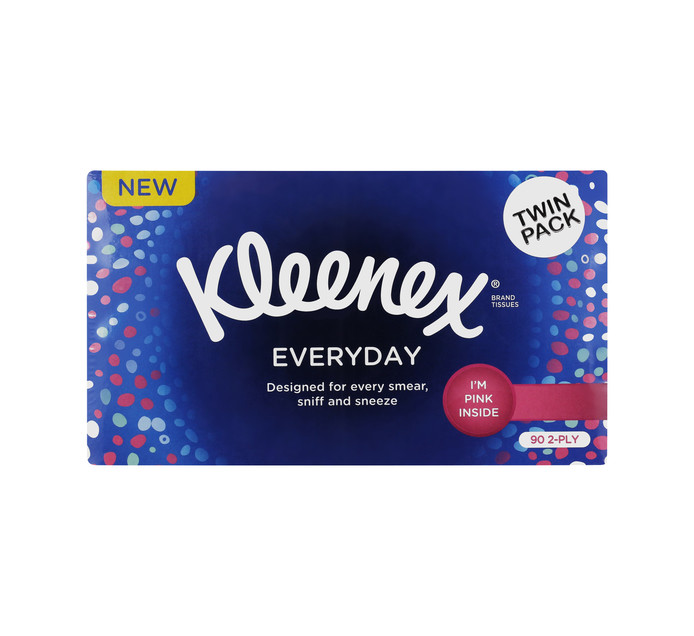 KLEENEX Everday 2 Ply Facial Tissues Pink Tissues (2 X 90'S)