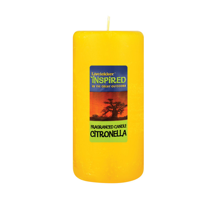 LIVELEKKER Large Pillar Candle Citronella