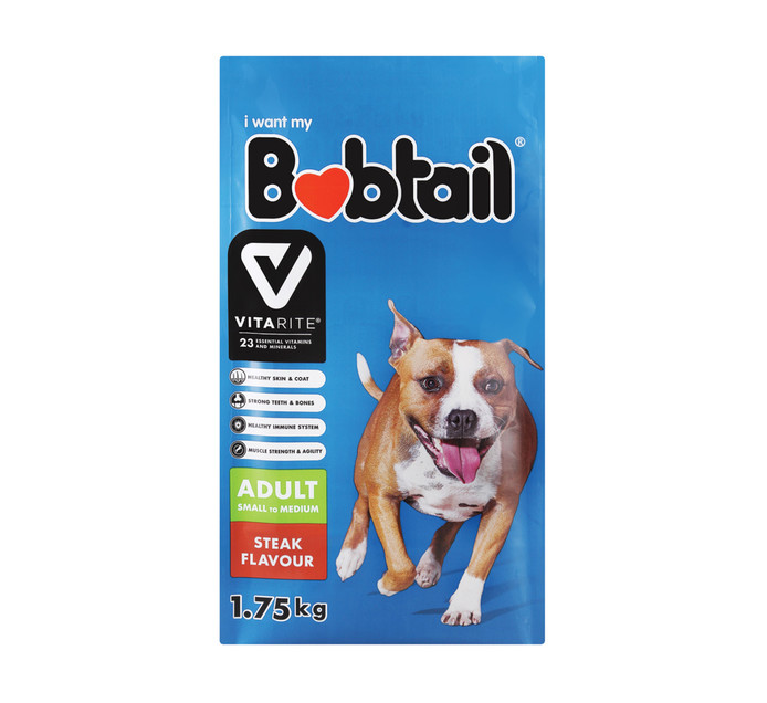 BOBTAIL Dry Dog Food Mini Small Steak (1 x 1.75kg)