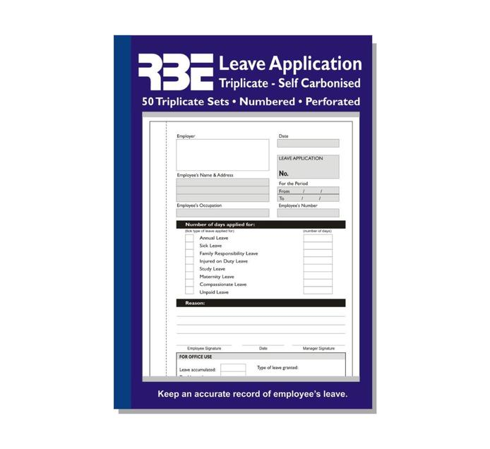 RBE A5 Leave Application Triplicate