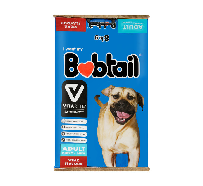 BOBTAIL Dry Dog Food Large Steak (1 x 8kg)